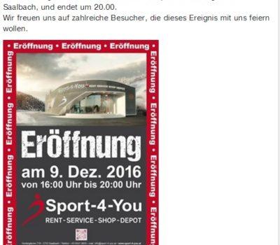 Beitrag Eröffnung Sport-4-You