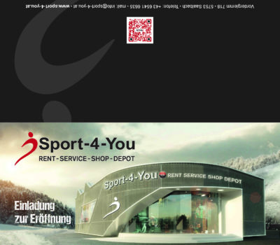 Einladungskarte zur Eröffung Sport-4-You
