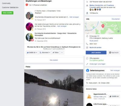 Facebook Hotel Unterellmau