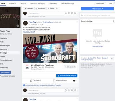Papa Roy Facebookbeitrag