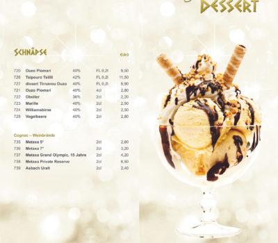 Getränkekarte - Eiskarte Restaurnat zum Griechen