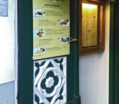 Außenbeschriftung Tür Restaurant zum Griechen
