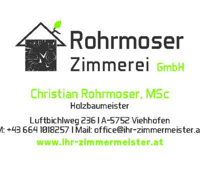 Visitenkarte Zimmerei Rohrmoser
