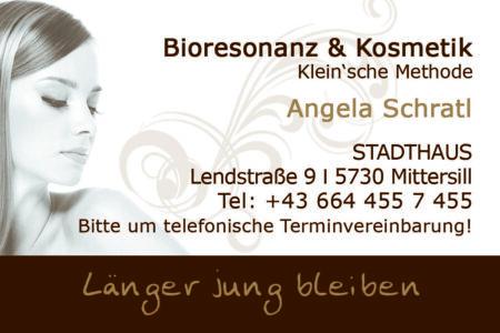 Visitenkarte Bioresonanz & Kosmetik Angela Schratl